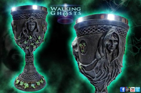 Mother Maiden Crone Altar Chalice Wine Goblet Celtic Pagan Wicca Triple Moon
